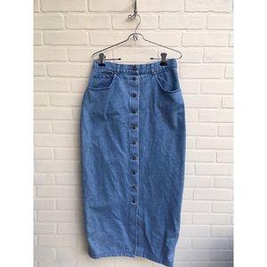 Vintage High Waisted Button Up Denim Skirt